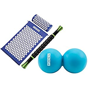 Gut Health Shop 51-rqSJlkFL._SS300_ YOGU Acupressure Mat Pillow and Muscle Roller Massage Stick Set for Back and Neck Pain Relief and Muscle Relaxation…
