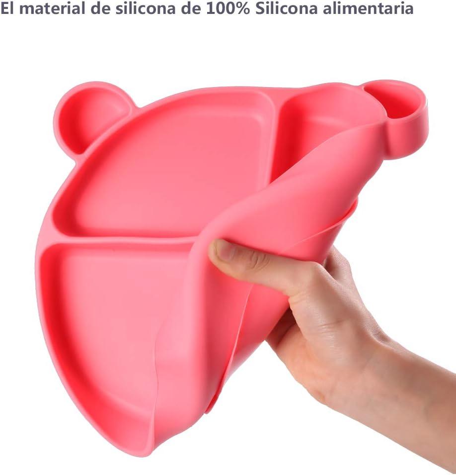 Homvik Plato de Silicona con Ventosa para Beb/é Mantel Individual para Bebe Ni/ños Plato Antideslizante Plato de Alimentaci/ón para BLW Rosa