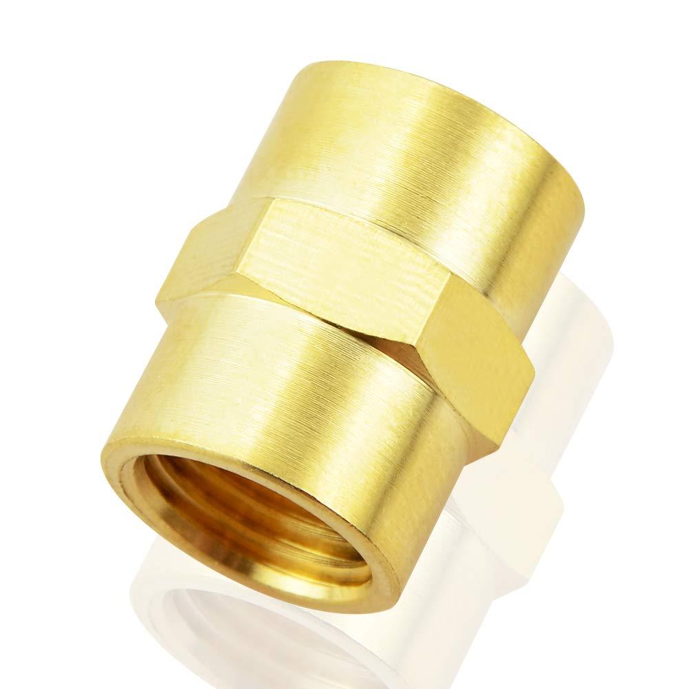 Brass Pipe Fitting(2Pcs) Tailonz Pneumatic 1//4 Inch NPT Female Pipe Hex Nipple