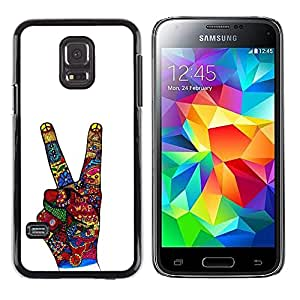 LECELL--Funda protectora / Cubierta / Piel For Samsung Galaxy S5 Mini, SM-G800, NOT S5 REGULAR! -- Victory Hand Sign Abstract White --