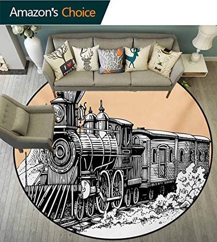 RUGSMAT Steam Engine Non-Slip Area Rug Pad Round,Vintage Wooden Train Rail Wild West Wagon in Countryside Drawing Effect Artsy Protect Floors While Securing Rug Making Vacuuming,Diameter-55 Inch