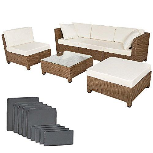 TecTake Hochwertige Luxus Lounge mit 2 Bezugssets Poly-Rattan Aluminium Sitzgruppe Sofa Rattanmöbel Gartenmöbel mit Edelstahlschrauben braun