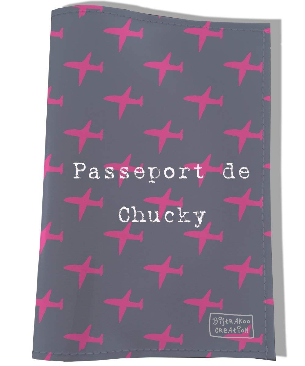 Protège passeport personnalisé pour chatte, Coloris gris et rose, réf. P2281-2015 réf. P2281-2015