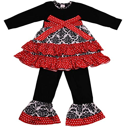 Baby Girls Boutique Clothing Set - Kids Girl 2 Piece Long Sleeve Ruffle Dress Pants Outfits 5T