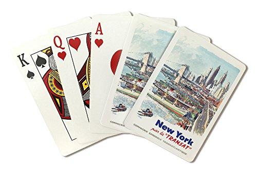 New York - Transat Vintage Poster (artist: Brenet, Albert) France c. 1955 (Playing Card Deck - 52 Card Poker Size with Jokers)