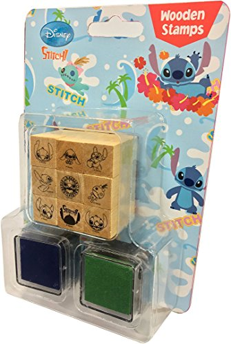 Disney Decorative Wooden Rubber Stamp and Ink Set 9pcs (Stitch)
