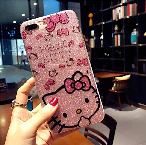 for iPhone 8 Plus Bling Cartoon Hello Kitty Case for iPhone 7 Plus/iPhone 8 Plus Bling TPU Cover Cute Funda Coque Case (Pink)