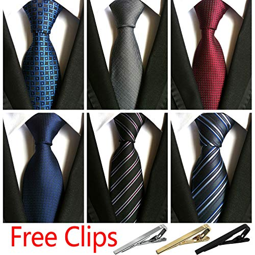 - Jeatonge Lot 6 Pcs Mens Ties and 3 Free Tie Clips, Men's Classic Tie Necktie Woven Jacquard Neck Ties Gift box packing (Style 2)