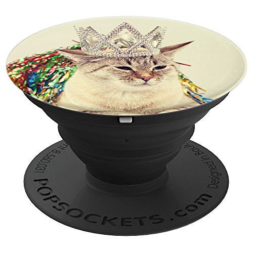 Birthday Queen Cat With Bejeweled Princess Crown Phone Grip - PopSockets Grip and Stand for Phones and Tablets