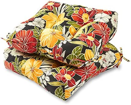 Greendale Home Fashions AZ6800S2-ALOHA-BLACK Aloha Outdoor Dining Seat Cushion Set of 2