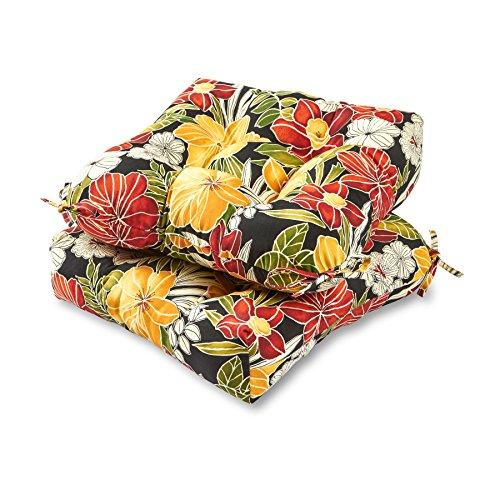Greendale Home Fashions 20-inch Outdoor Chair Cushion (set of 2), Aloha Black