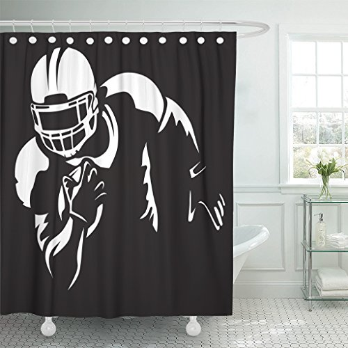 Emvency Shower Curtain Red American Football Player Quarterback White Super Bowl Sport Waterproof Polyester Fabric 60 x 72 Inches Set with -