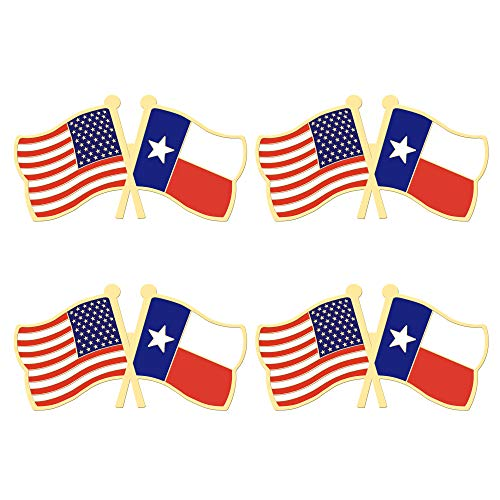 ALEY 4 Pack Texas State Flag Pin Small Mini Texas TX Lone Star Flags Lapel Pins,Decorations Supplies for Texas Party Events Celebration