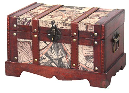 Vintiquewise QI003037.L Old World Map Wooden Trunk, Large Chest Only Only, Cherry ()
