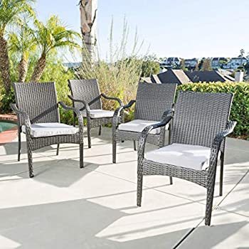 GDF Studio San Miguel   Wicker Stacking Outdoor Dining Chairs   Set of 4   Perfect for Patio   Grey