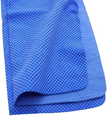 Consoladores acampar al aire libre reciclado hielo frío Cool Golf Toalla Bufanda runing Chilly Pad, azul