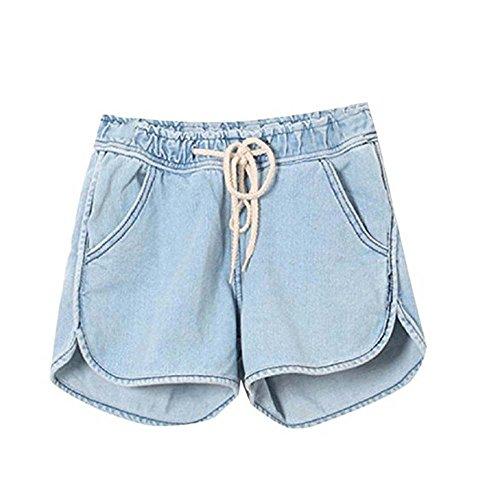 d't femmes Bleu lache nouveaux cordon shorts 2 taille de hellomiko denim de lastique Clair shorts 2018 O0PnwXqp