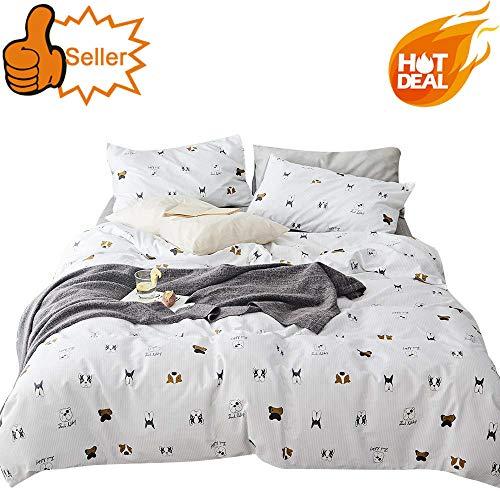 OTOB Teen Cotton Puppy Dogs Bedding Sets Queen with 1 Duvet Cover 2 Pillowcases, Reversible Kids Full Bed Duvet Cover Set for Girls Children Boys White Black Soft Full/Queen (Set Sheet Dog)