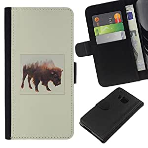 NEECELL GIFT forCITY // Billetera de cuero Caso Cubierta de protección Carcasa / Leather Wallet Case for HTC One M7 // Montañas Búfalo
