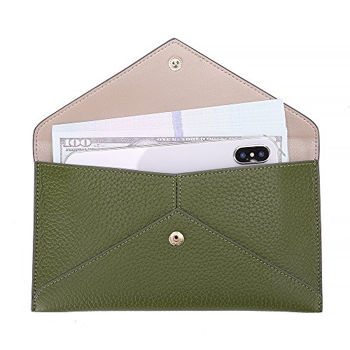 Womens Envelope Clutch Wallet Leather Card Phone Coin Holder Organizer with Zipper Pocket, Army ()