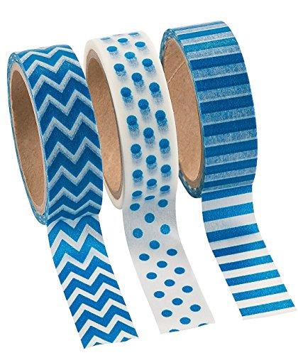 Blue Washi Tape Set - 16 Ft. Of Tape Per Roll (3 Rolls Per Unit) by Fun Express