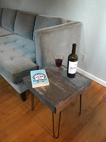True Barnwood End Table Reclaimed Upcycled hairpin legs