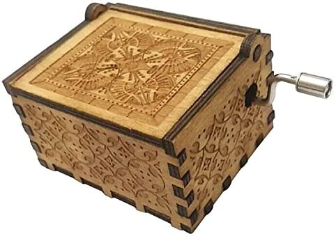 FORUSKY Antique Carved Game of Thrones Hand Cranking Wood Music Box for Home Decoration,Crafts,Toys,Gift