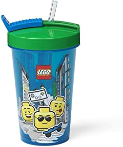 LEGO Tumbler with Drinking Straw Iconic Boy, Blue, One Size