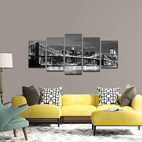 Wieco Art Broooklyn Bridge Night View 5 Panels Modern Landscape Artwork Canvas Prints Abstract