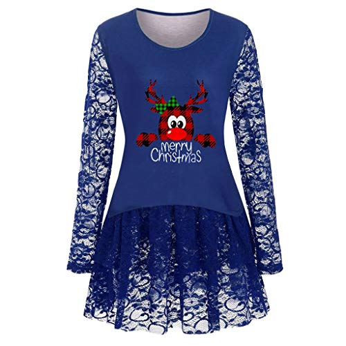 Holzkary Merry Christmas Pullover Women Print Sweatshirt Casual Lace Patchwork Tops Blouses(S.Blue-1) (Please In Italian Merry Christmas)