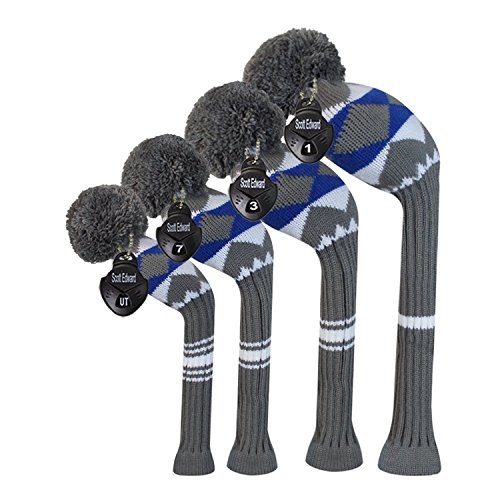 Scott Edward Alien Planet Pattern Style Golf Club Head Covers, Acrylic Yarn Double-Layers Knitted, with Rotatable Number Tags Set of - Pattern Edward