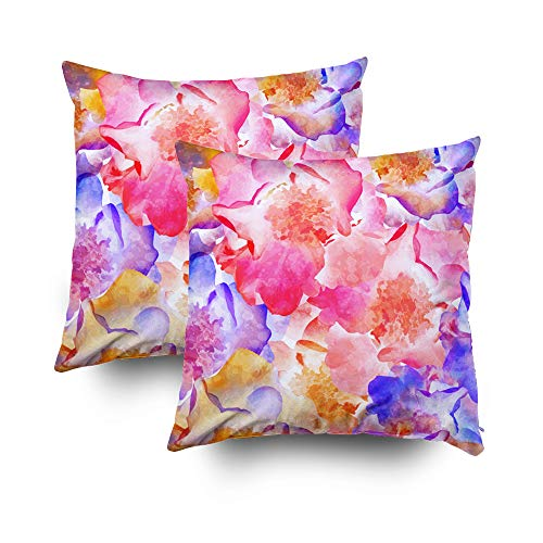 otton Square Set of 2 Pillow Case Covers with Zippered Closing for Home Sofa Decor Size 16X16Inch Costom Pillowcse Throw Cover Cushion,Bright Flowers Wild Rose EPS10 ()