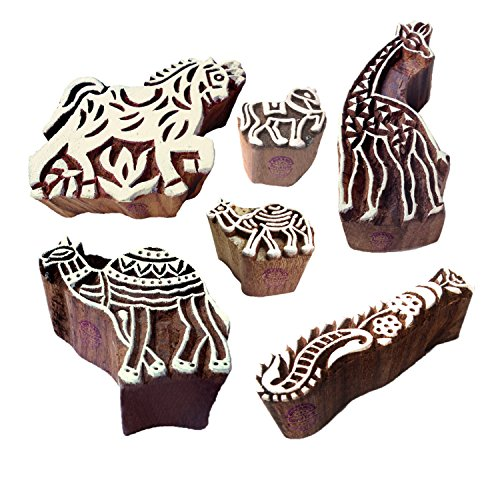 Handmade Shapes Horse and Camel Wood Block Print Stamps (Set of 6)