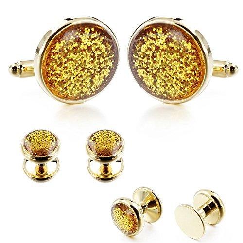 HAWSON Diamond Dust Cufflinks and Shirt Studs Set for Mens Tuxedo Business Gift Wedding Party Accessories ()