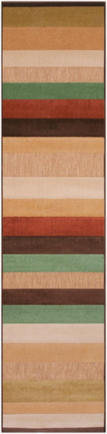Diva At Home 2.5' x 7.85' Countryside Oasis Mocha Brown & Green Outdoor Area Throw Rug Runner