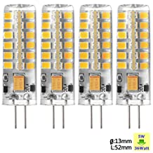 Sunix 5W G4 LED Bulbs, 36W Halogen Bulbs Equivalent, 290lm, Dimmable, Warm White, 3000K, 360 Degree Beam Angle, Silicone Corn Bulb, Pack Of 4 Units SU023