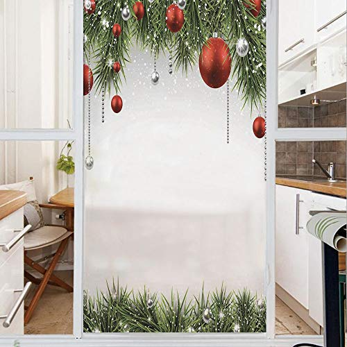 Decorative Window Film,No Glue Frosted Privacy Film,Stained Glass Door Film,Classical Christmas Ornaments and Baubles Pine Tree Twig Tinsel Print,for Home & Office,23.6In. by 47.2In Green Red