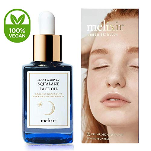 Melixir Vegan Squalane Face Oil with Rosehip Oil, ECOCERT Certified Squalane Oil 91.8%, 1.0oz (30ml)