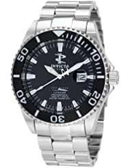 Invicta Mens 1542 Reserve Black Dial Stainless-Steel Watch
