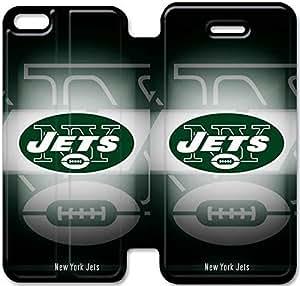 iPhone 5 5s funda,NSDFIUOSY5695 Flip cubierta y soporte para iPhone 5 5s - NEW YORK JETS