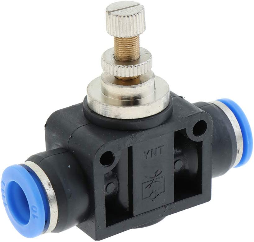 Air Flow Control Valve with Push-to-Connect Fitting in-Line Speed Controller 4mm to 12mm Tube Inner Dia as described 4mm