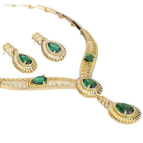 Jet Filigree - 4 Pieces Pear Drops Jewelry Set, Pendant Necklace Filigree Design Jewellery with Swarovski Crystals Elements - Emerald/Green, Janeo Jewellery