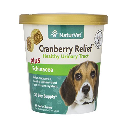NaturVet Cranberry Relief Plus Echinacea for Dogs, 60 ct Soft Chews, Made in USA