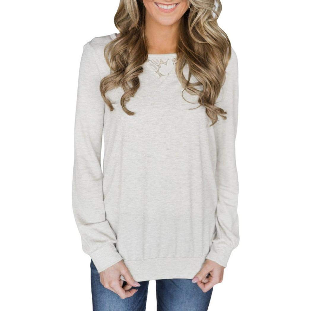 Women's Fashion Solid Hollow Back Lace Insert Stitching Sweatshirt - vermers Women Casual Long Sleeve Pullover Tops(L, White)