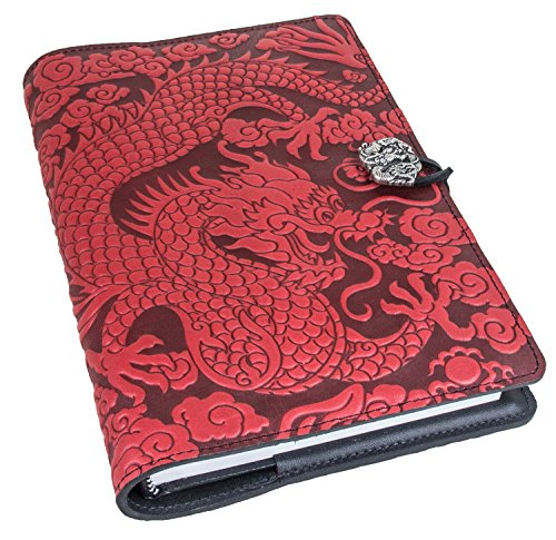 Genuine Leather Refillable Journal Cover with a Hardbound Blank Insert, 6x9 Inches, Cloud Dragon, Red with a Pewter Button, Made in The USA by Oberon Design