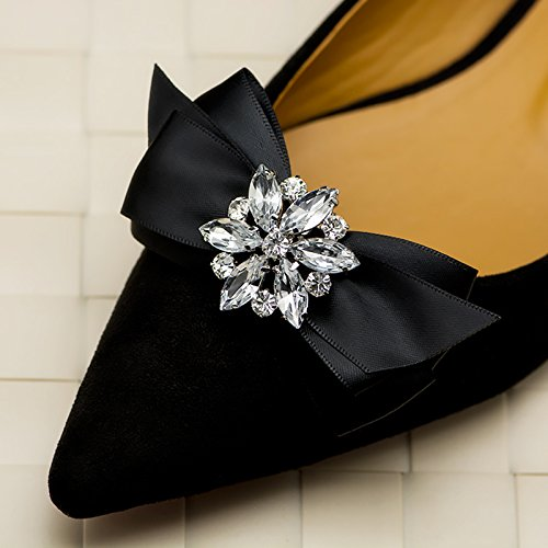 WINGOFFLY 1 Pair Decorative Rhinestone Ribbon Bow Wedding Party Shoe Clip(Black)