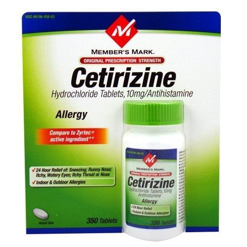 Membres Mark cétirizine allergie, comprimés, 350-Count