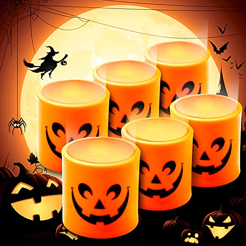 Halloween Candles, 6 Pack Jumbo Pumpkin Tea Light Candles LED Candles Jack O Lanterns Flameless Light Halloween Decorations Indoor for Home, Party
