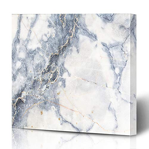 Ahawoso Canvas Prints Wall Art 12x12 Inches Rock Blue Gold Gray Light Marble Stone Watercolor White Abstract Aquatic Artistic Design Golden Decor for Living Room Office Bedroom ()