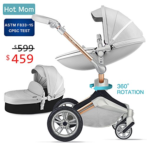 Baby Stroller 360 Rotation Function,Hot Mom Travel System Pram (Grey),Baby Food Feeder Gift